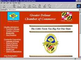 Greater Delmar Chamber of Commerce web site front page